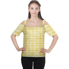 Spring Yellow Gingham Women s Cutout Shoulder Tee