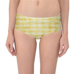 Spring Yellow Gingham Mid-Waist Bikini Bottoms