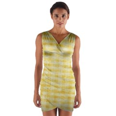 Spring Yellow Gingham Wrap Front Bodycon Dress