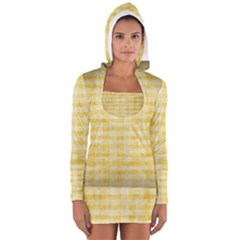 Spring Yellow Gingham Women s Long Sleeve Hooded T-shirt