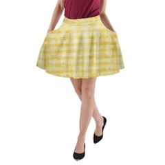 Spring Yellow Gingham A-Line Pocket Skirt