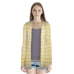 Spring Yellow Gingham Drape Collar Cardigan