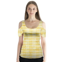 Spring Yellow Gingham Butterfly Sleeve Cutout Tee