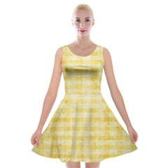 Spring Yellow Gingham Velvet Skater Dress