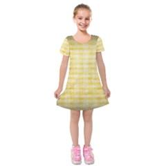 Spring Yellow Gingham Kids  Short Sleeve Velvet Dress