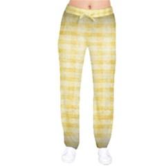 Spring Yellow Gingham Drawstring Pants