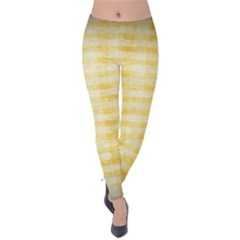 Spring Yellow Gingham Velvet Leggings