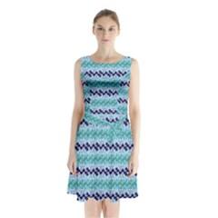 Geometric Pattern 220 V2 C2 170409 Sleeveless Waist Tie Chiffon Dress