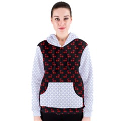 Alice Blue Quatrefoil in an English Country Garden Women s Zipper Hoodie