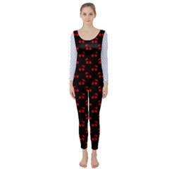 Alice Blue Quatrefoil in an English Country Garden Long Sleeve Catsuit