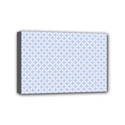 Alice Blue Quatrefoil in an English Country Garden Mini Canvas 6  x 4