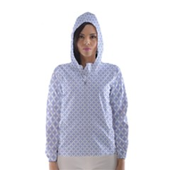 Alice Blue Quatrefoil in an English Country Garden Hooded Wind Breaker (Women)
