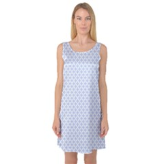 Alice Blue Quatrefoil in an English Country Garden Sleeveless Satin Nightdress