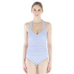 Alice Blue Quatrefoil in an English Country Garden Halter Swimsuit