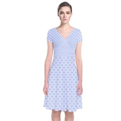 Alice Blue Quatrefoil in an English Country Garden Short Sleeve Front Wrap Dress