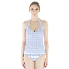 Alice Blue Hearts in an English Country Garden Halter Swimsuit