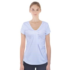 Alice Blue Hearts in an English Country Garden Short Sleeve Front Detail Top