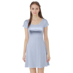 Alice Blue White Kisses in English Country Garden Short Sleeve Skater Dress