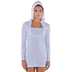 Alice Blue White Kisses in English Country Garden Women s Long Sleeve Hooded T-shirt
