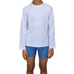 Alice Blue Pinstripe In An English Country Garden Kids  Long Sleeve Swimwear