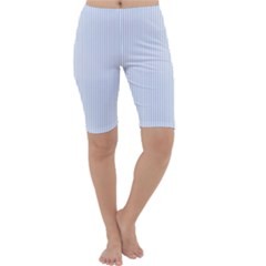 Alice Blue Pinstripe in an English Country Garden Cropped Leggings