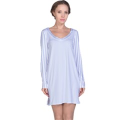 Alice Blue Pinstripe in an English Country Garden Long Sleeve Nightdress