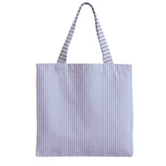Alice Blue Pinstripe in an English Country Garden Zipper Grocery Tote Bag