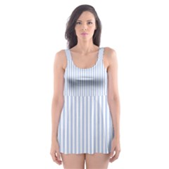 Alice Blue Pinstripe in an English Country Garden Skater Dress Swimsuit