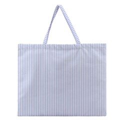 Alice Blue Pinstripe in an English Country Garden Zipper Large Tote Bag