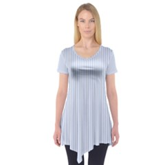 Alice Blue Pinstripe in an English Country Garden Short Sleeve Tunic