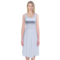 Alice Blue Pinstripe in an English Country Garden Midi Sleeveless Dress