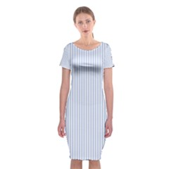 Alice Blue Pinstripe in an English Country Garden Classic Short Sleeve Midi Dress