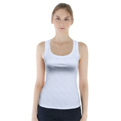Alice Blue Pinstripe in an English Country Garden Racer Back Sports Top