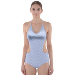 Alice Blue Mini Footpath in English Country Garden  Cut-Out One Piece Swimsuit