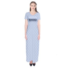 Alice Blue Mini Footpath in English Country Garden  Short Sleeve Maxi Dress