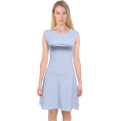 Alice Blue Mini Footpath in English Country Garden  Capsleeve Midi Dress