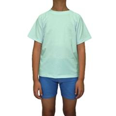 Pale Green Summermint Pastel Green Mint Kids  Short Sleeve Swimwear