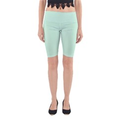 Pale Green Summermint Pastel Green Mint Yoga Cropped Leggings