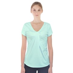 Pale Green Summermint Pastel Green Mint Short Sleeve Front Detail Top