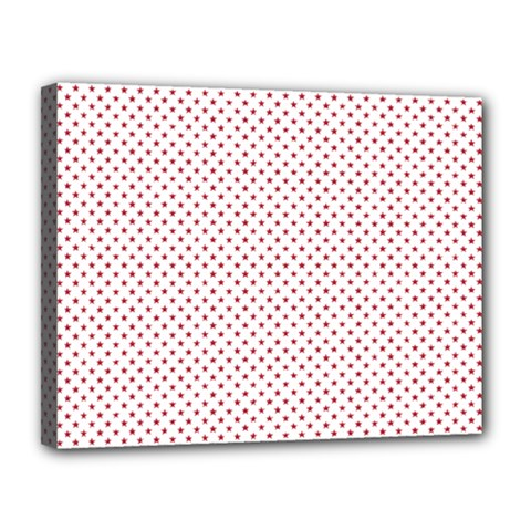 USA Flag Red Stars on White Canvas 14  x 11