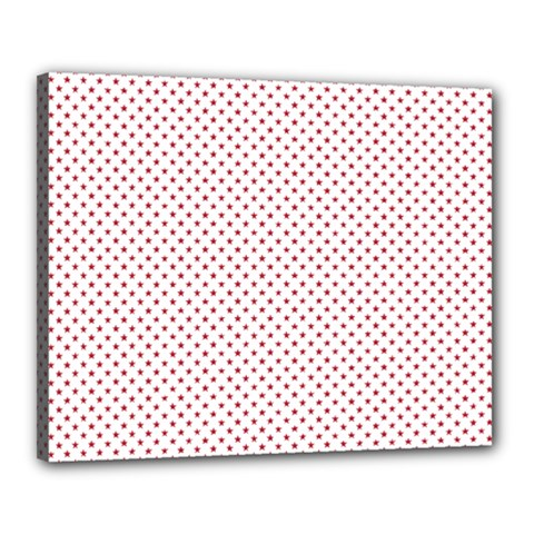 USA Flag Red Stars on White Canvas 20  x 16