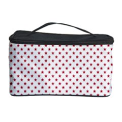 USA Flag Red Stars on White Cosmetic Storage Case