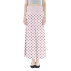 USA Flag Red Stars on White Full Length Maxi Skirt