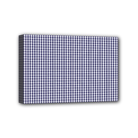 USA Flag Blue and White Gingham Checked Mini Canvas 6  x 4