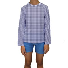 USA Flag Blue and White Gingham Checked Kids  Long Sleeve Swimwear