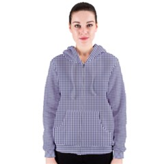 USA Flag Blue and White Gingham Checked Women s Zipper Hoodie