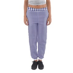 USA Flag Blue and White Gingham Checked Women s Jogger Sweatpants