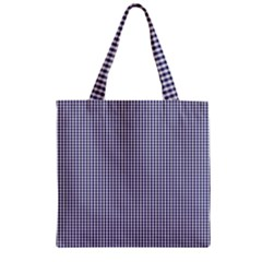 USA Flag Blue and White Gingham Checked Zipper Grocery Tote Bag
