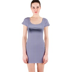 USA Flag Blue and White Gingham Checked Short Sleeve Bodycon Dress