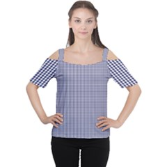 USA Flag Blue and White Gingham Checked Women s Cutout Shoulder Tee